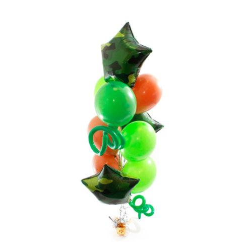 Фонтан зелено-коричневый с 3 звездами и круглыми воздушными шарами