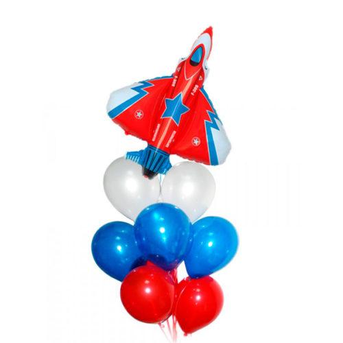 Связка триколор с истребителем из воздушных шаров