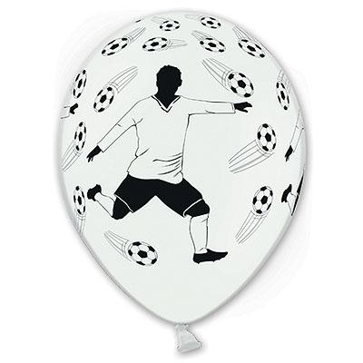 Шар 30 см Футболист Белый Пастель
