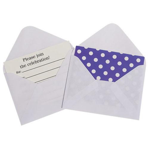 Открытка пригласительная с конвертом Точки фиолетовый 12 шт