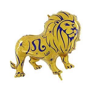 Шар 102 см Фигура Зодиак Лев золотой