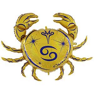 Шар 102 см Фигура Зодиак Рак золотой