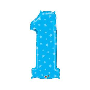 Шар 89 см Цифра 1 Звездочки Голубой