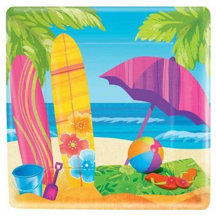 Тарелка бумажная 17 см Квадратная Лето Море и песок 8 шт