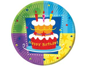 Тарелка бумажная 17 см Торт Birthday 6 шт