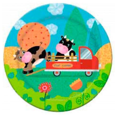 Тарелка бумажная 23 см Забавная ферма 6 шт