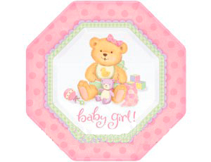 Тарелка бумажная 25 см восьмиугольная Медвежонок Девочка 8 шт
