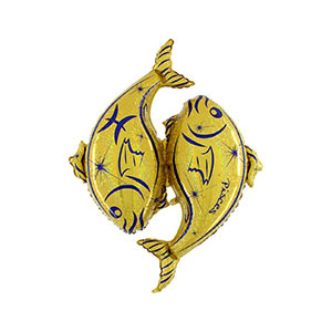 Шар 127 см Фигура Рыбы золотой