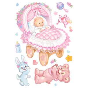Набор наклеек к рождению ребенка девочка
