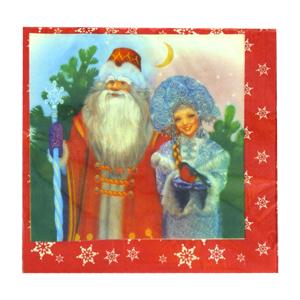 Салфетки 33 см Дед Мороз и Снегурочка 20 штук
