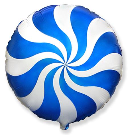Шар 46 см Круг Леденец Синий