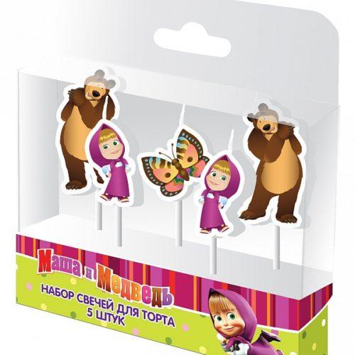 Набор свечей на палочках 4 см Маша и Медведь 5 шт