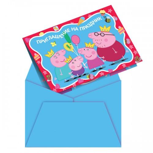 Приглашение в конверте Пеппа-принцесса 6 шт