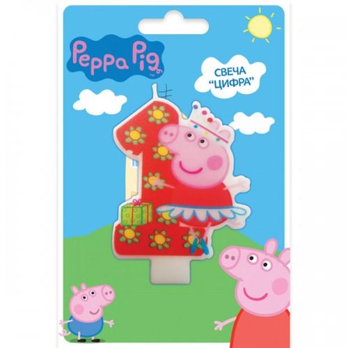 Свеча цифра 1 Свинка Пеппа 8 см