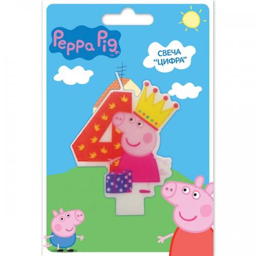 Свеча цифра 4 Свинка Пеппа 8 см