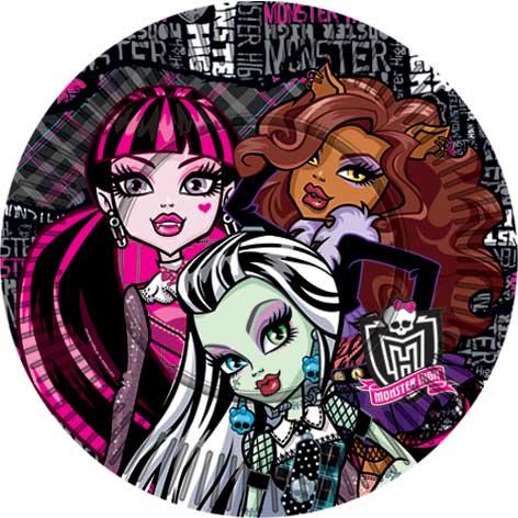 Тарелка бумажная 18 см Monster High Страшно красивые 10 шт