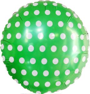 Шар 46 см Круг Точки Зеленый