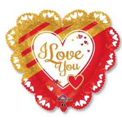 Шар 81 см Сердце LOVE Золотое и красное