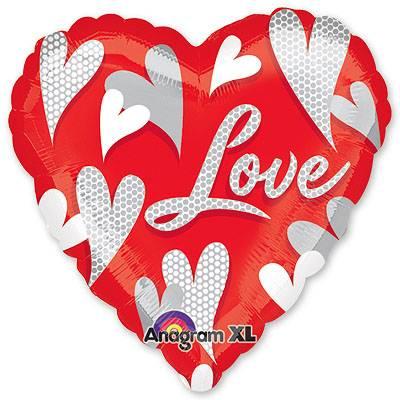 Шар 81 см Сердце Love Водоворот сердец