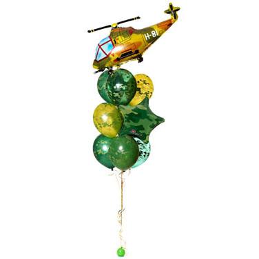 Фонтан с вертолетом хаки и звездой