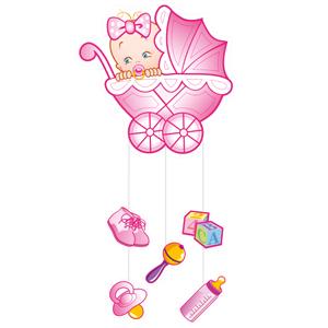 Бумажное украшение подвеска розовая С Днем рождения Малыш