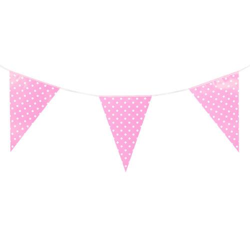 Гирлянда флажки Розовые точки 2,8м