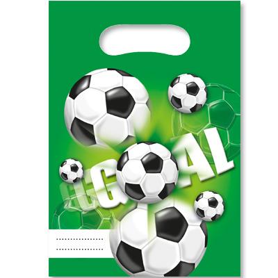 Пакеты для сувениров 16х22 см Футбол зеленый 6шт