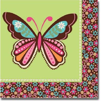 Салфетка 33 см Хиппи бабочка 16 шт