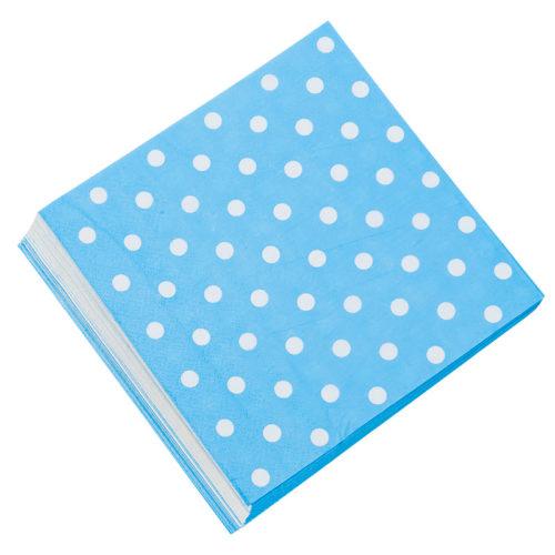 Салфетки 33см X 33см Голубые точки 20 штук