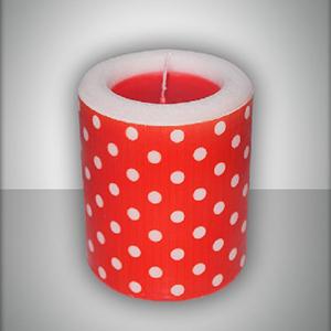 Свеча фонарик красная Горошек ароматизированная