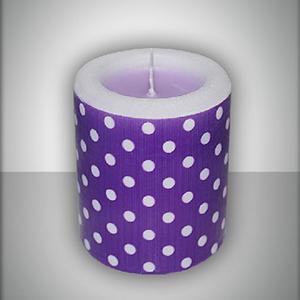 Свеча фонарик фиолетовая Горошек ароматизированная