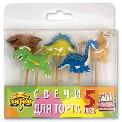 Свечи дляторта на пиках Динозаврик 5 шт