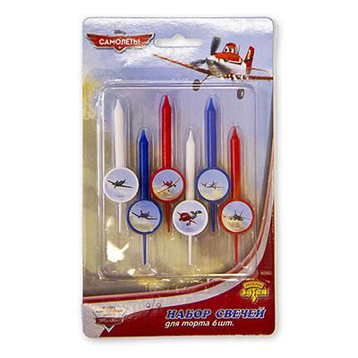 Свечи для торта Disney Самолеты 6 штук