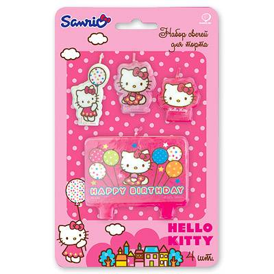 Свечи для торта Hello Kitty 4 штуки