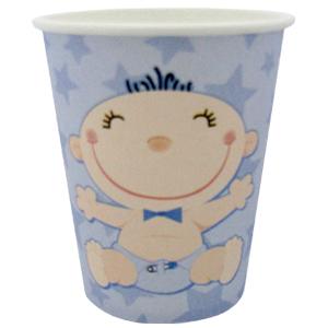 Стаканы бумажные 250 мл С днем Рождения Малыш голубые 6 штук