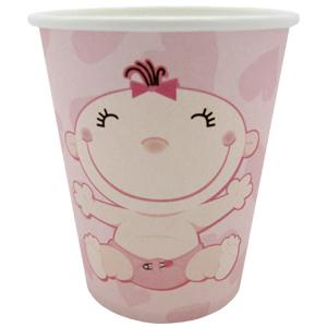 Стаканы бумажные 250 мл С днем Рождения Малыш розовые 6 штук