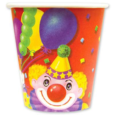 Стакан бумажный 190 мл Клоун с шарами 6 шт