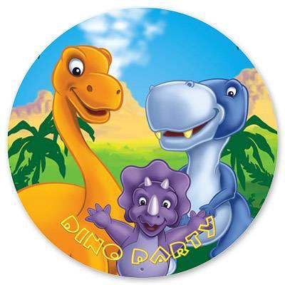 Тарелка бумажная 17 см Динозаврики 6 шт
