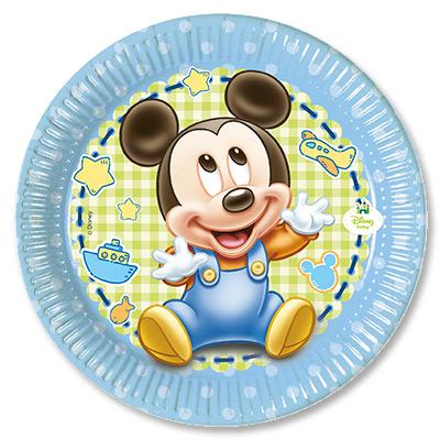 Тарелка бумажная 20 см Малыш Микки 8 шт