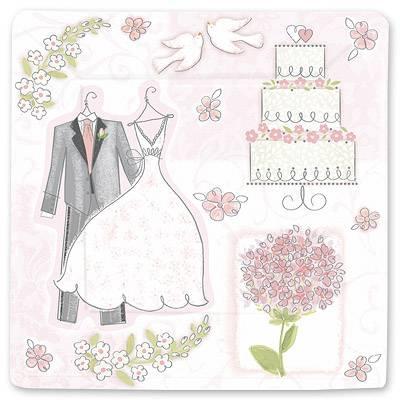 Тарелка бумажная 25 см Свадьба Romantic 8 шт