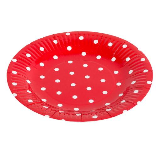 Тарелки бумажные 17 см Красные точки 6 штук
