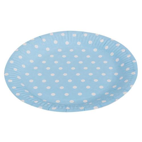 Тарелки бумажные 23 см Голубые точки 6 штук