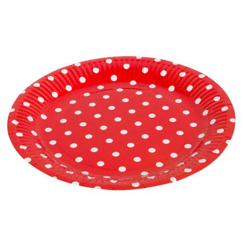 Тарелки бумажные 23 см Красные точки 6 штук