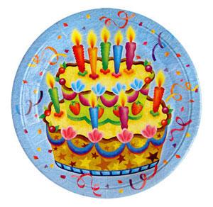 Тарелки бумажные 23 см Праздничный торт 6 штук