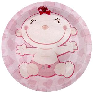 Тарелки бумажные 23 см С днем Рождения Малыш розовые 6 штук