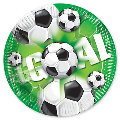 Тарелки 20 см Футбол зеленый 10 шт