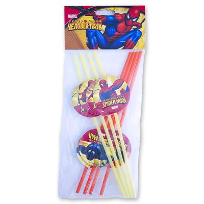 Трубочки для коктейля Человек-Паук 8 штук