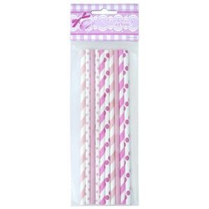 Трубочки для коктейля бумажные розовое ассорти 10 шт