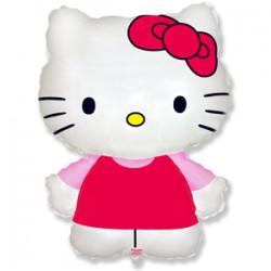 Шар 36 см Мини-фигура Котенок Китти с бантиком Розовый