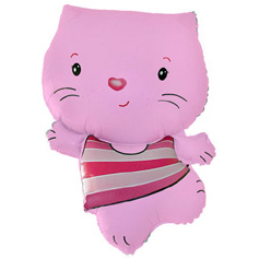 Шар 36 см Мини-фигура Котенок Розовый
